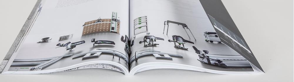 <h2>Katalog FESTOOL</h2> Katalog mit laminiertem Umschlag und Klappe U3/4
