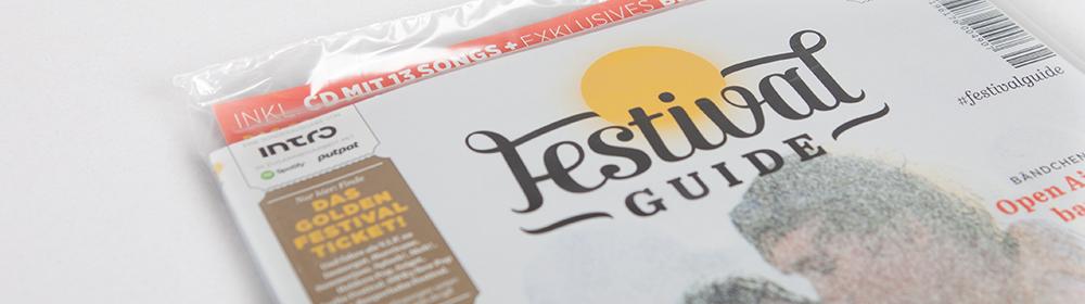 <h2>Festivalguide</h2>Magazin mit CD Inline auf Umschlag aufgespendet und in Folienverpackung.